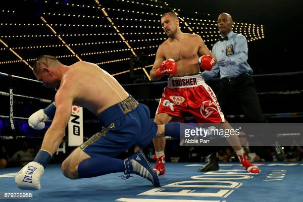 Vyacheslav Shabranskyy is knocked down by Sergey Kovalev during their Light Heavyweight at The Theater at Madison Square Garden on November 25 2017...