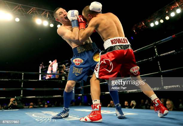Vyacheslav Shabranskyyand Sergey Kovalev fight during their Light Heavyweight at The Theater at Madison Square Garden on November 25 2017 in New York...