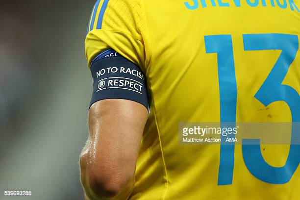 Vyacheslav Shevchuk of Ukraine wearing the No To Racism UEFA Respect captain armband during the UEFA EURO 2016 Group C match between Germany and...