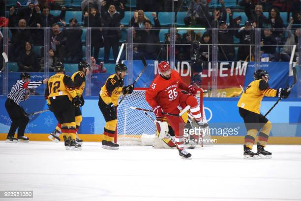 Vyacheslav Voinov of Olympic Athlete from Russia celebrates after scoring a goal in the first period against Germany during the Men's Gold Medal Game...