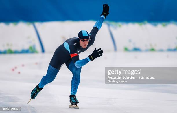 Vyacheslav Zaretskiy of Kazachstan competes in the Mens 500m sprint race during the ISU Junior World Cup Speed Skating Final Day 2 on February 9 2019...