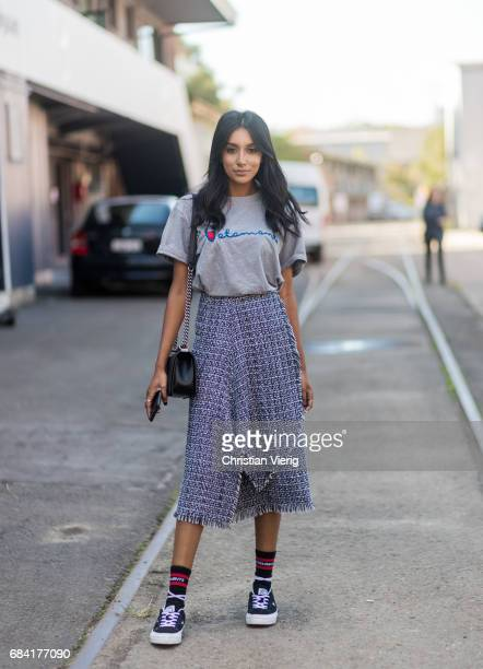 Vydia Rishie wearing Vetements tshirt skirt socks and sneakers at day 4 during MercedesBenz Fashion Week Resort 18 Collections at Carriageworks on...