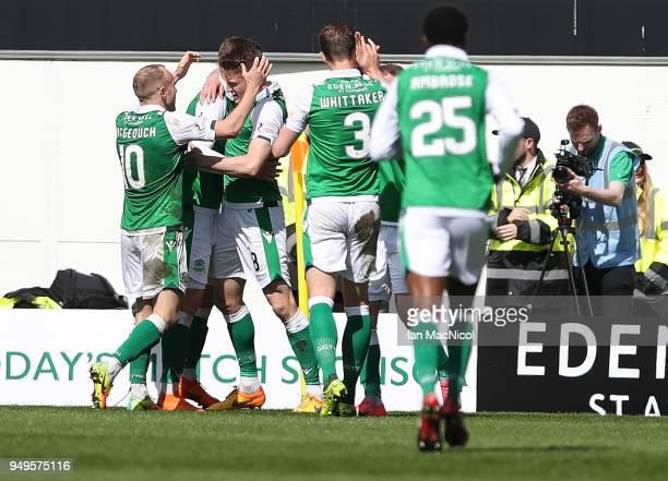 Vykintas Slivka of Hiberniancelebrates scoring during the Ladbrokes Scottish Premiership match between Hibernian and Celtic at Easter Road on April...