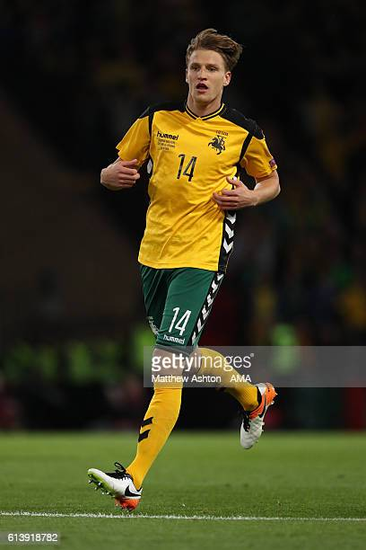 Vykintas Slivka of Lithuania during the FIFA 2018 World Cup Qualifier between Scotland and Lithuania at Hampden Park on October 8 2016 in Glasgow...