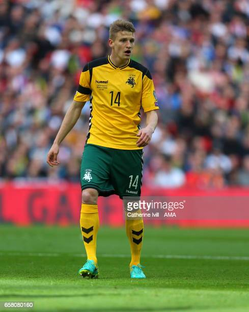 Vykintas Slivka of Lithuania during the FIFA 2018 World Cup Qualifier between England and Lithunania at Wembley Stadium on March 26 2017 in London...