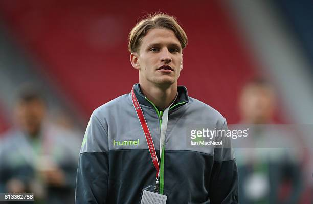 Vykintas Slivka of Lithuania is seen prior to the FIFA 2018 World Cup Qualifier between Scotland and Lithuania at Hampden Park on October 8 2016 in...