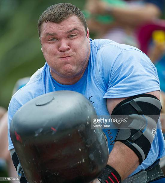 Vytautas Lalas of Lithuania competes at the Circus Medley event during the World's Strongest Man competition at Yalong Bay Cultural Square on August...