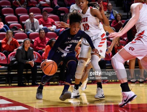 w2 drives vase line during the third period of the Old Dominion Lady Monarchs game versus the Western Kentucky Lady Toppers on February 8 at EA...