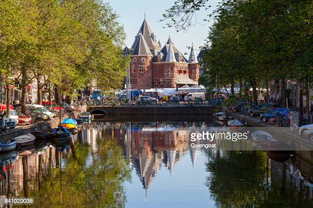 waag in nieuwmarkt, amsterdam - gwengoat stock pictures, royalty-free photos & images