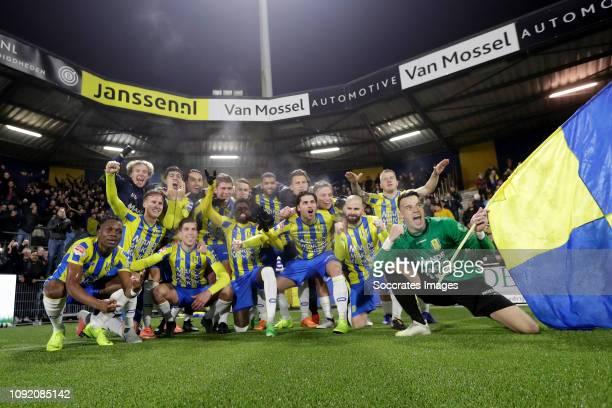Waalwijk celebrates the victory during the Dutch Keuken Kampioen Divisie match between RKC Waalwijk v FC Den Bosch at the Mandemakers Stadium on...