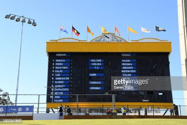 Waca scoreboard with the CFC players names during a training session at the WACA in Perth on July 20 2018 in Perth Australia