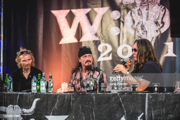 Wacken founder Holger Huebner guitarist and founder of the band Iced Earth Jon Schaffer and Wacken founder Thomas Jensen at the press conference...