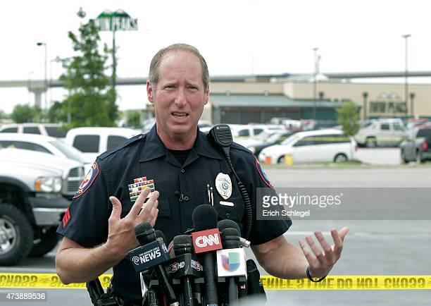 Waco Police Department Public Affairs Officer Sgt Patrick Swanton gives a press conference in front of the Twin Peaks restaurant May 18 2015 in Waco...