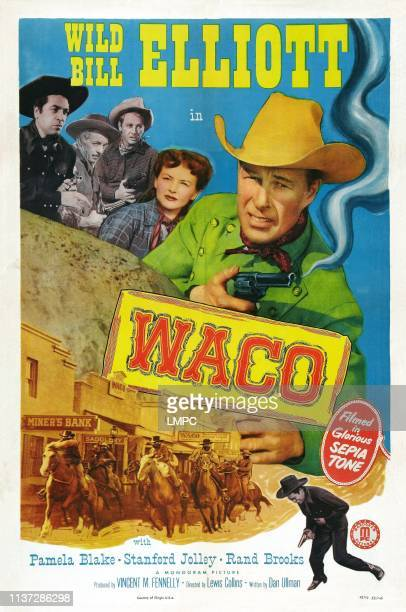 Waco, poster, US poster art, from top left: Paul Fierro, I. Stanford Jolley, Rand Brooks, Pamela Blake, Bill Elliott, 1952.