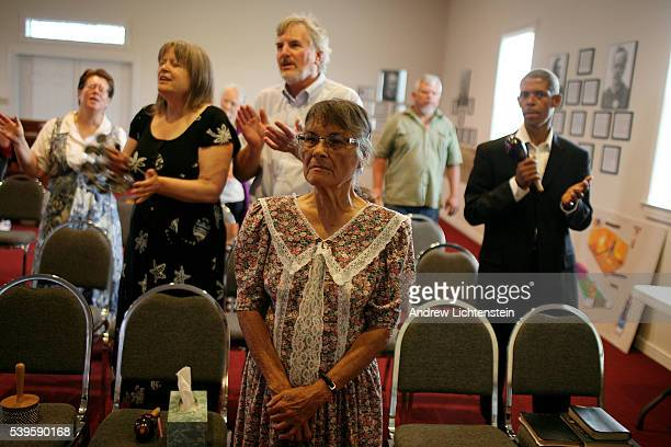 Waco survivor Ofelia Santoyo who lost her daughter and five grand children in the April 19th 1993 fire attends a Branch Davidian worshipper service...