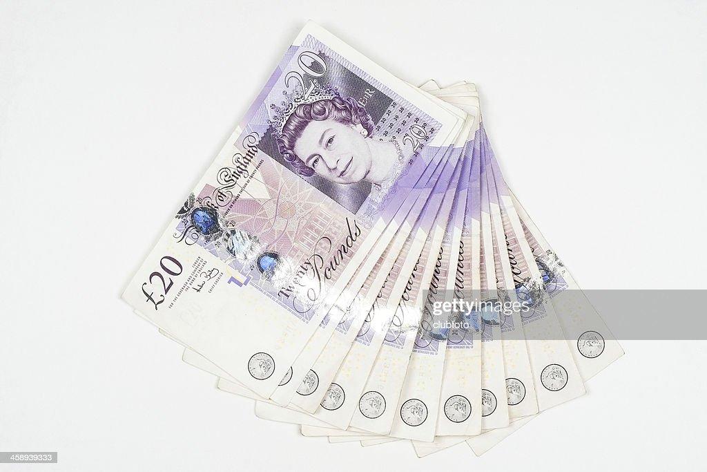 Wad of UK twenty pound notes : Stock Photo