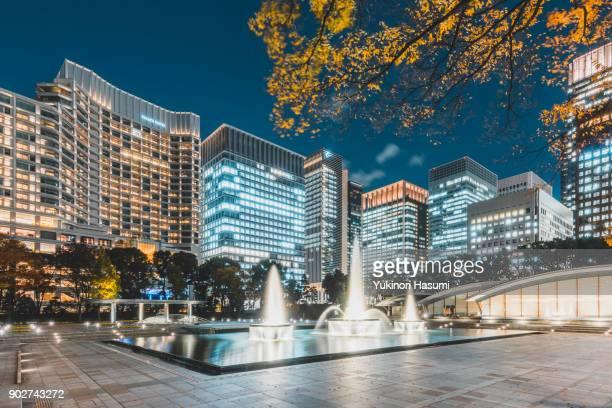 Wadakura Fountain Park at night