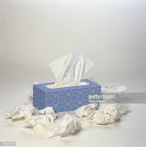 wadded tissues around box - handkerchief - fotografias e filmes do acervo