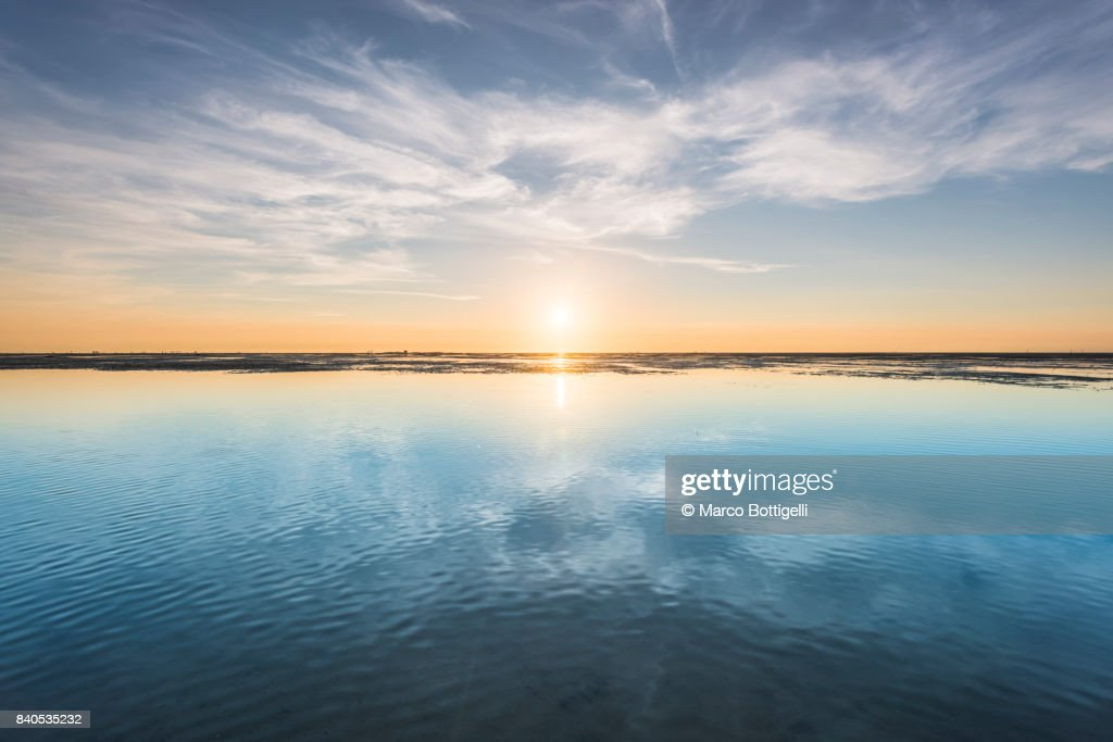 Wadden sea at sunset. Cuxhaven, Germany : Stock Photo