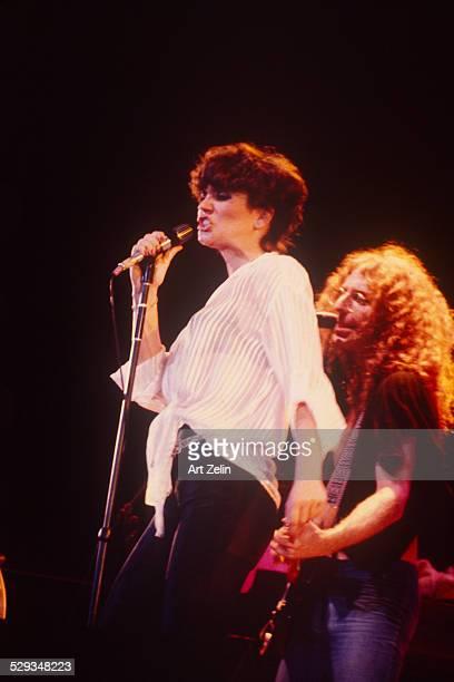 Waddy Wachtek and Linda Ronstadt in performance circa 1970 New York