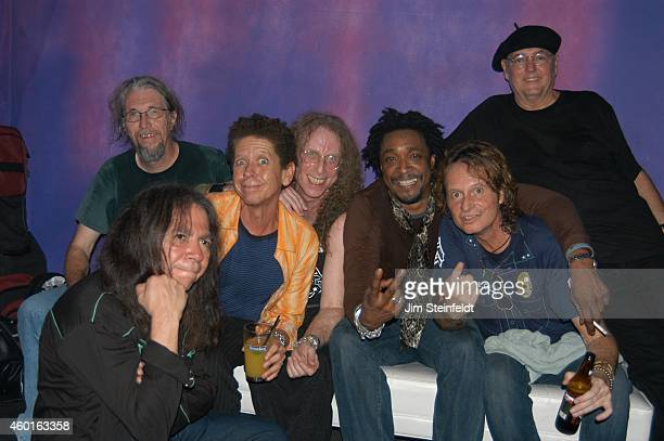 Waddy Wachtel band Phil Jones, Rick Rosas, Blondie Chaplin, Waddy Wachtel, Bernard Fowler, Brett Tuggle, and Keith Allison backstage at The Joint in...