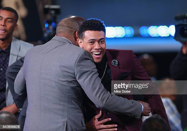 Wade Baldwin IV celebrates after being drafted 17th overall by the Memphis Grizzlies in the first round of the 2016 NBA Draft at the Barclays Center...