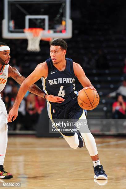 Wade Baldwin IV of the Memphis Grizzlies handles the ball during the 201718 NBA preseason game against the Atlanta Hawks on October 9 2017 at...