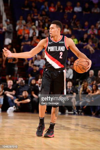 Wade Baldwin IV of the Portland Trail Blazers handles the ball against the Phoenix Suns during a preseason game on October 5 2018 at Talking Stick...