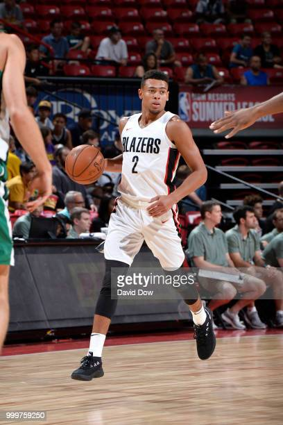 Wade Baldwin IV of the Portland Trail Blazers handles the ball against the Boston Celtics during the 2018 Las Vegas Summer League on July 15 2018 at...