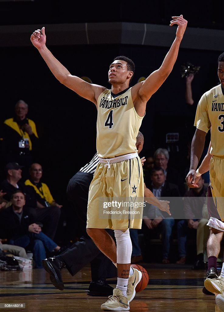 Wade Baldwin IV #4 of the Vanderbilt Commodores reacts to the cheers of the crowd during the second half of a 77-60 Vanderbilt upset of Texas A&M at Memorial Gym on February 4, 2016 in Nashville, Tennessee.