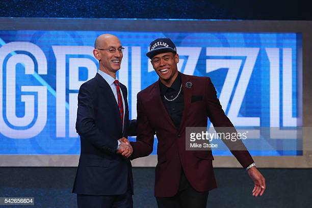 Wade Baldwin IV poses with Commissioner Adam Silver after being drafted 17th overall by the Memphis Grizzlies in the first round of the 2016 NBA...