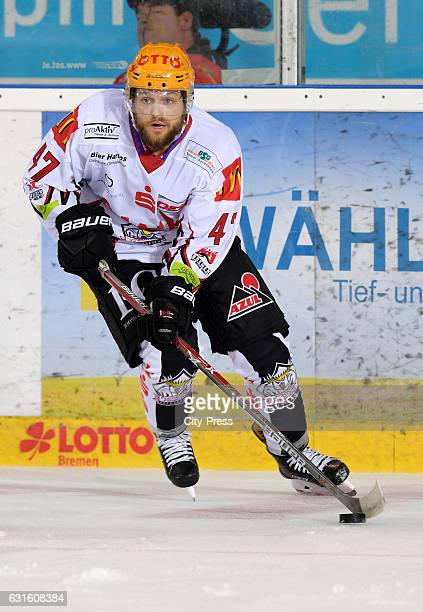 Wade Bergmann of the Fischtown Pinguins handles the puck during the action shot on September 3 2016 in Bremerhaven Germany