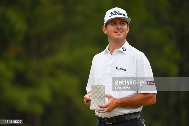 Wade Binfield smiles at fans while standing on the fifteenth hole tee box during the final round of the Web.com Tour Savannah Golf Championship at...