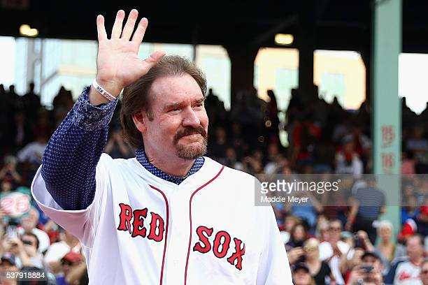 Wade Boggs acknowledges the crowd prior to his number 26 retirement ceremony before the game between the Boston Red Sox and the Colorado Rockies at...