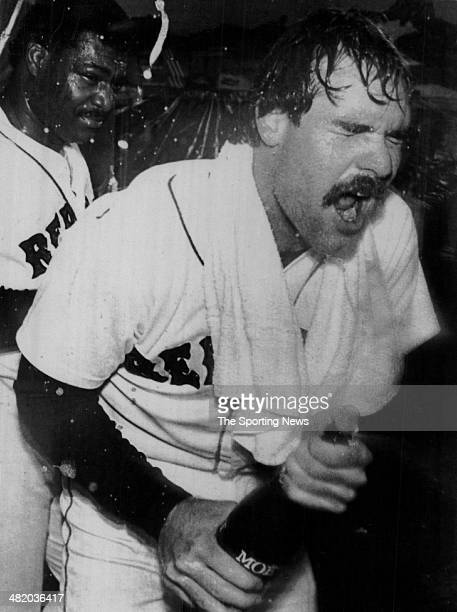 Wade Boggs of the Boston Red Sox celebrates with teammates circa 1980s