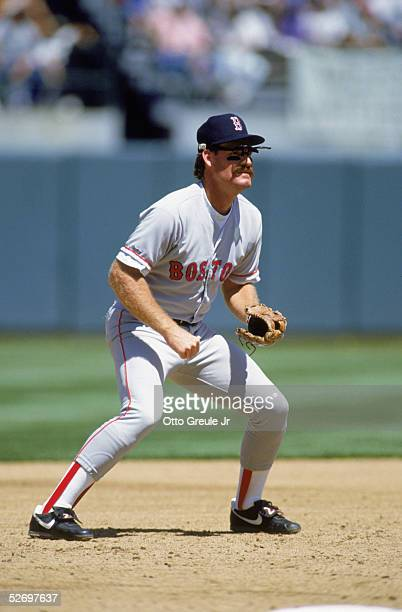 Wade Boggs of the Boston Red Sox fields during an MLB game against the Oakland A's circa 1991 at the Oakland Alameda County Stadium in Oakland...