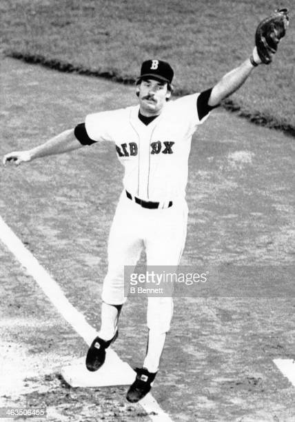 Wade Boggs of the Boston Red Sox fields the throw during an MLB game circa 1982 at Fenway Park in Boston Massachusetts