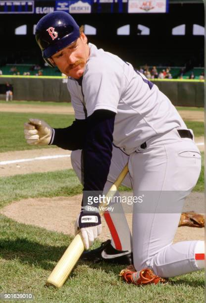 Wade Boggs of the Boston Red Sox looks on durning an MLB game versus the Chicago White Sox at Comiskey Park in Chicago Illinois during the 1987 season