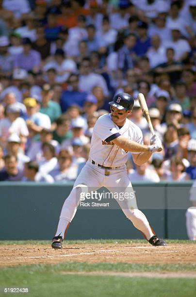 Wade Boggs of the Boston Red Sox prepares to take a swing during a game against the Oakland Athletics at Fenway Park on May 231992 in Boston...