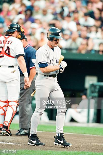 Wade Boggs of the New York Yankees bats during Game Five of the American League Championship Series against the Baltimore Orioles on October 13 1996...