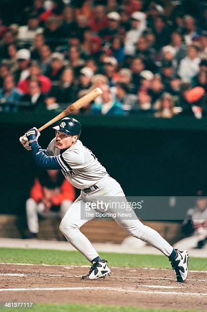 Wade Boggs of the New York Yankees bats during Game Four of the American League Championship Series against the Baltimore Orioles on October 14 1996...