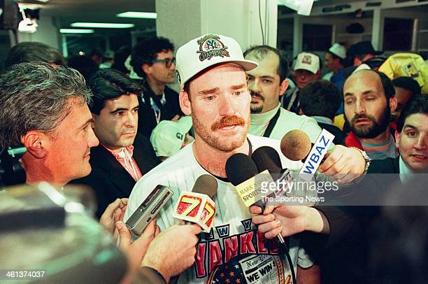 Wade Boggs of the New York Yankees talks to reporters following Game Six of the World Series against the Atlanta Braves on October 26 1996 at Yankee...