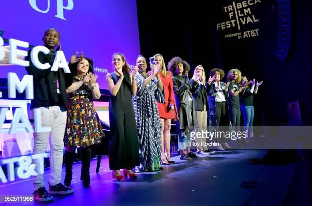 Wade Davis Christy Haubegger Marisa Tomei Tarana Burk Mira SorvinoFatima Goss Graves and Amber Tamblyn speak onstage at 'Time's Up' during the 2018...
