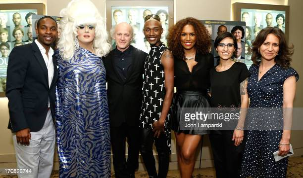 """Wade Davis, Lady Bunny, Timothy Greenfield-Sanders, Twiggy Pucci Garcon, Janet Mock, Waznia Zundon and Lisa Heller attends """"The Out List"""" New York..."""