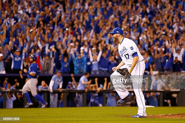 Wade Davis of the Kansas City Royals celebrates after the Royals 4-3 victory against the Toronto Blue Jays in game six of the 2015 MLB American...