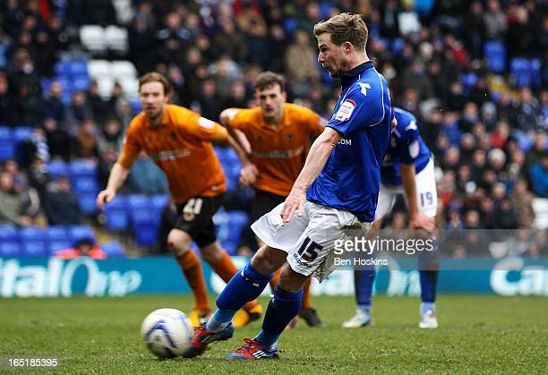 Wade Elliott of Birmingham misses a penalty during the npower Championship match between Birmingham City and Wolverhampton Wanderers at St Andrews on...