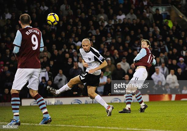 Wade Elliott of Burnley scores to make it 11 during the Barclays Premier League match between Burnley and Fulham at Turf Moor on December 12 2009 in...