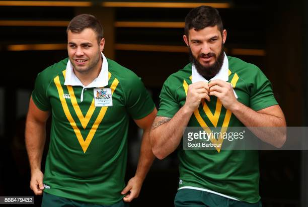 Wade Graham and Matt Gillett of the Kangaroos look on during an Australian Kangaroos training session on October 26 2017 in Melbourne Australia
