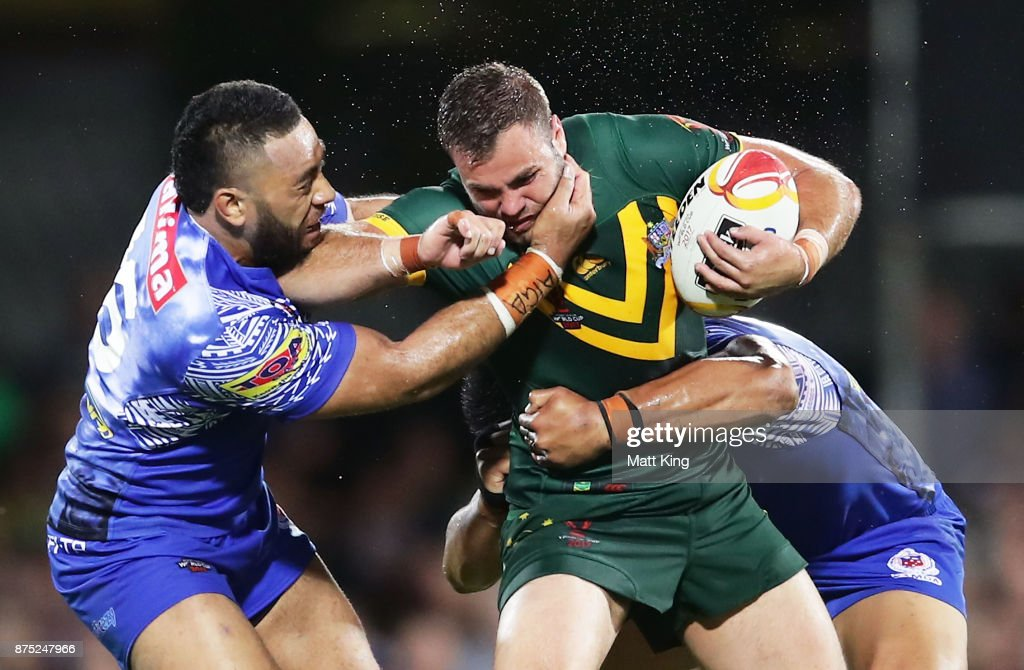 Wade Graham of Australia is tackled during the 2017 Rugby League World Cup Quarter Final match between Australia and Samoa at Darwin Stadium on November 17, 2017 in Darwin, Australia.