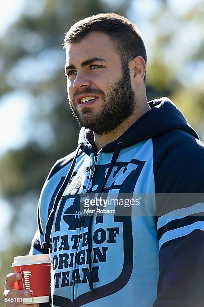 Wade Graham of the Blues arrives during the New South Wales Blues State of Origin training session on July 6 2016 in Coffs Harbour Australia